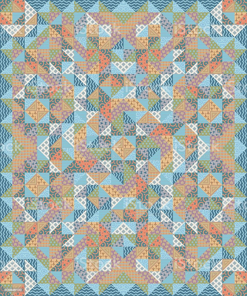 Quilt Patchwork Texture. Colorful Vector Pattern blanket vector art illustration