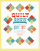 Quilt show and sale poster advertisement design template. Cute quilt background with patchwork. Sample design text. Easy to edit with layers.