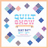 Quilt show and sale poster advertisement design template