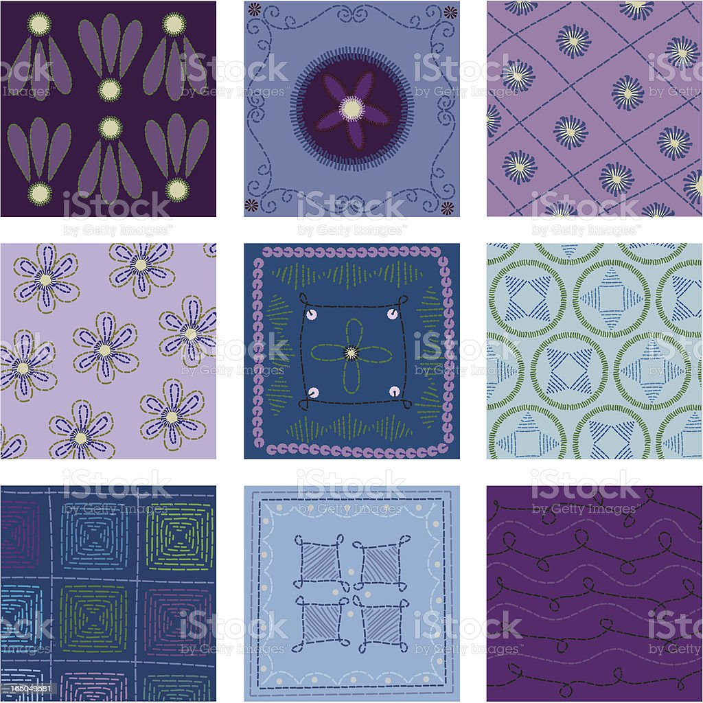 Quilt Squares (Vector) royalty-free quilt squares stock vector art & more images of art and craft