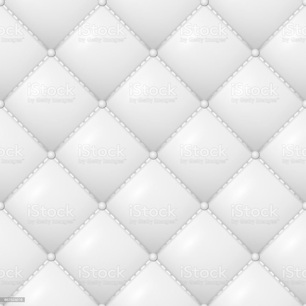 Quilted Pattern Vector. Abstract Soft Textured Background With Squares In White. Close-up View vector art illustration