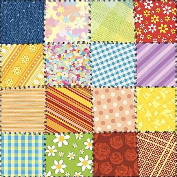 stockillustraties, clipart, cartoons en iconen met quilted pattern - patchwork