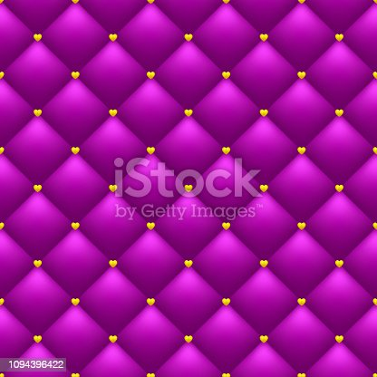Bright romantic seamless pattern. Quilted pink background. Golden hearts. Valentine's Day or wedding backdrop template.