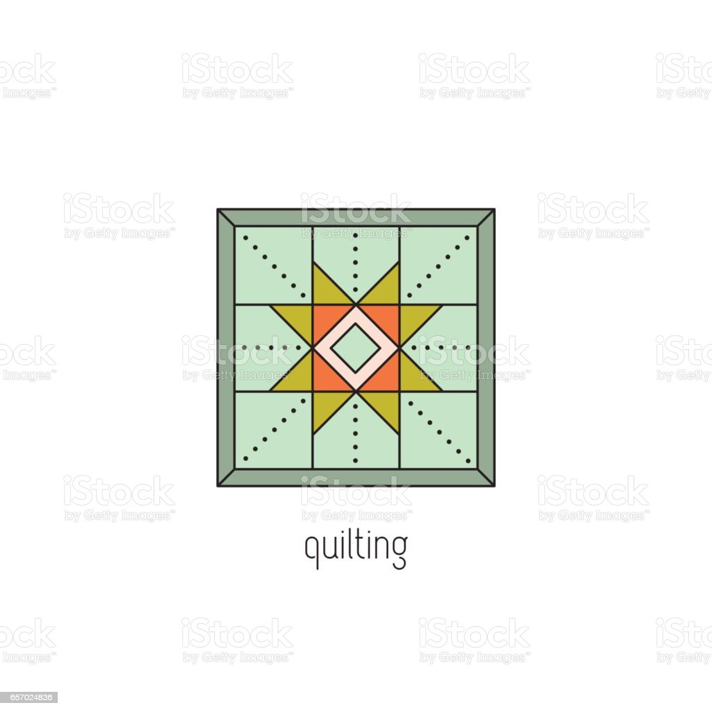 Quilting line icon vector art illustration