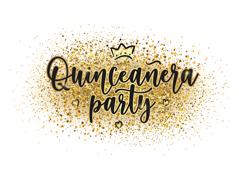 Quinceanera celebration lettering sign to make invitation card, iron on, decoration. Teenager girl birthday celebration calligraphy.  Vector stock illustration.