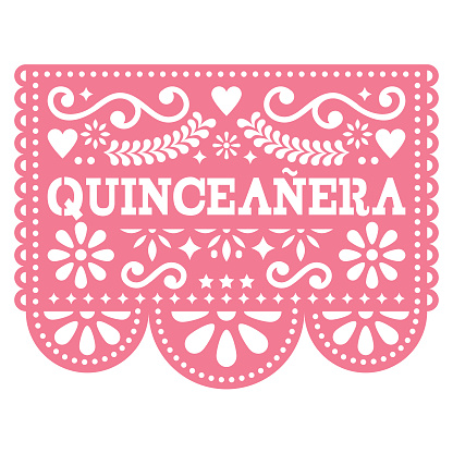 Quinceanera Papel Picado vector design - Mexican folk art birthday party design, paper decoration with floral pattern
