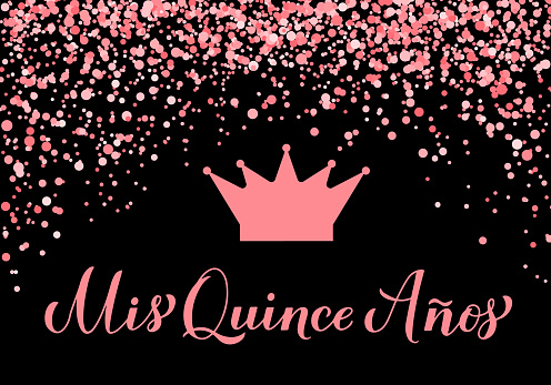 Quinceanera party banner. 15th Birthday party typography poster. Black and pink party decorations. Vector template.