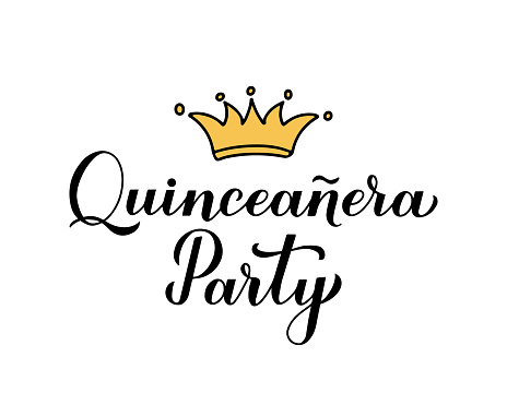 Quinceanera party calligraphy hand lettering with crown isolated on white. Spanish or Latin American girl 15th birthday. Easy to edit vector template for invitation, greeting card, banner, poster, etc