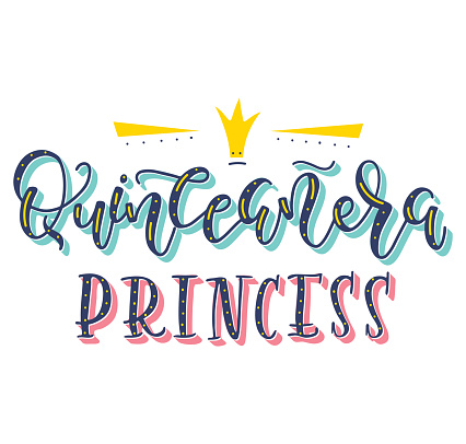 Quinceanera princess - Colored spanish lettering with crown. Vector illustration for Latin American girl birthday celebration.