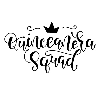 Quinceanera squad - black lettering for Latin American girl 15 birthday celebration. Vector illustration isolated on white background. Spanish celebration text.