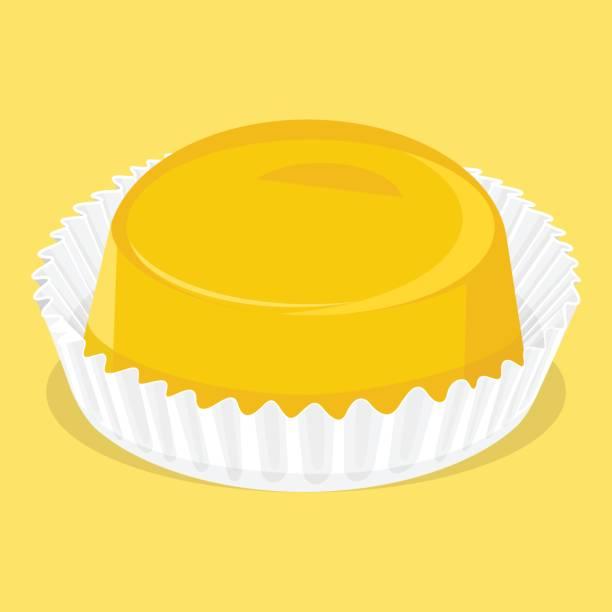 Quindim - Brazilian sweet - Birthday sweet Traditional Brazilian dessert leite stock illustrations