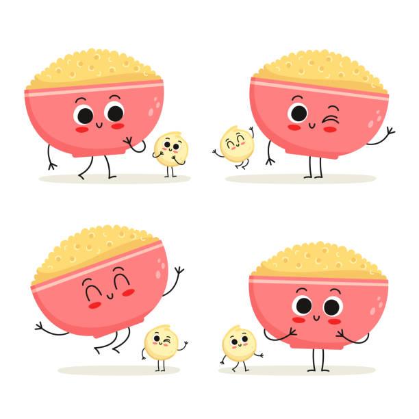 ilustrações de stock, clip art, desenhos animados e ícones de quinoa. cute cartoon grain vegan protein food vector character set isolated on white - quinoa