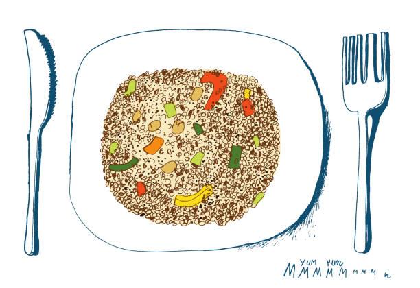ilustrações de stock, clip art, desenhos animados e ícones de quinoa salad on a plate - quinoa