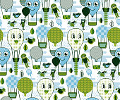 istock Quirky air balloon travel pattern geometric style design 1165535120