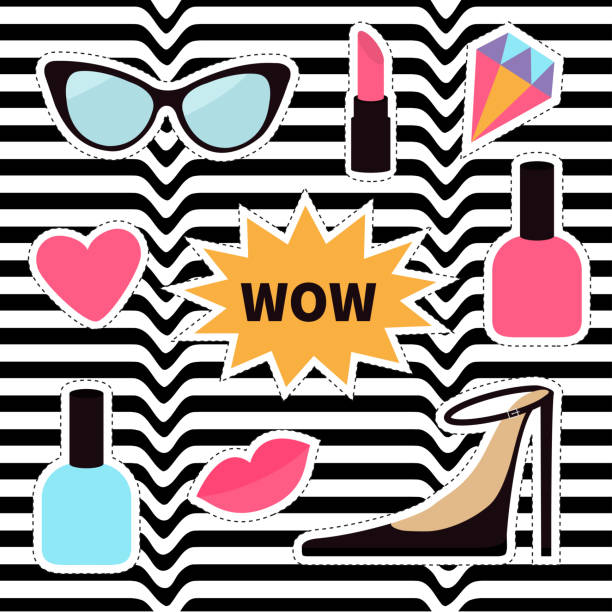 Quirky cartoon sticker patch badge set. Fashion pin. Lipstick, heart, wow text bubble star, diamond, shoes, lips, sunglasses, nail polish. White black wave abstract line optical background. Flat Quirky cartoon sticker patch badge set. Fashion pin. Lipstick, heart, wow text bubble star, diamond, shoes, lips, sunglasses, nail polish. White black wave abstract line optical background Flat Vector white nail polish stock illustrations