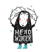 Quirky Winter Sheep in Warm Clothes Hello Winter