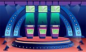istock Quiz game stage interior design background. Competition with questions. Television trivia show vector illustration. Three stands with microphones in spotlight, screens with questions 1292374537
