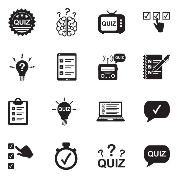 illustrazioni stock, clip art, cartoni animati e icone di tendenza di quiz icons. black flat design. vector illustration. - test