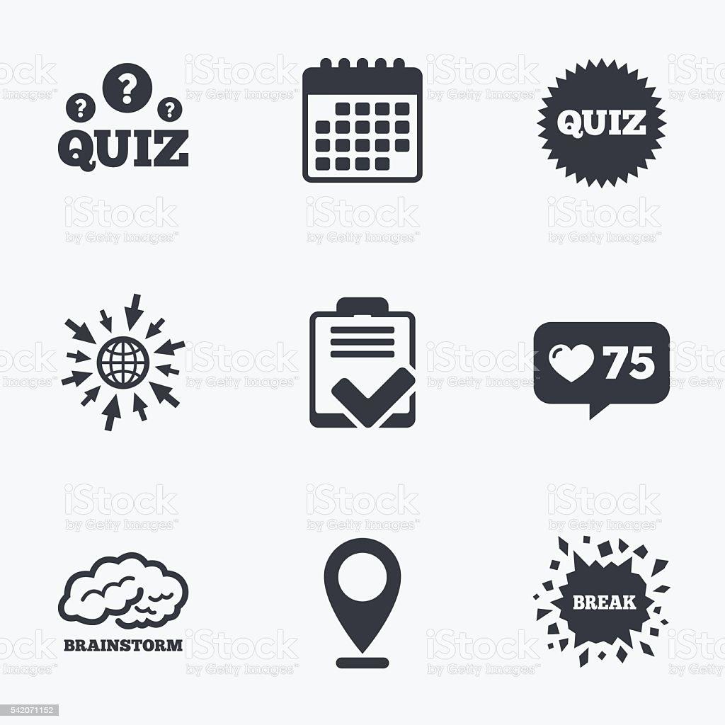 Quiz Icons Checklist And Brainstorm Symbols Stock Vector Art More