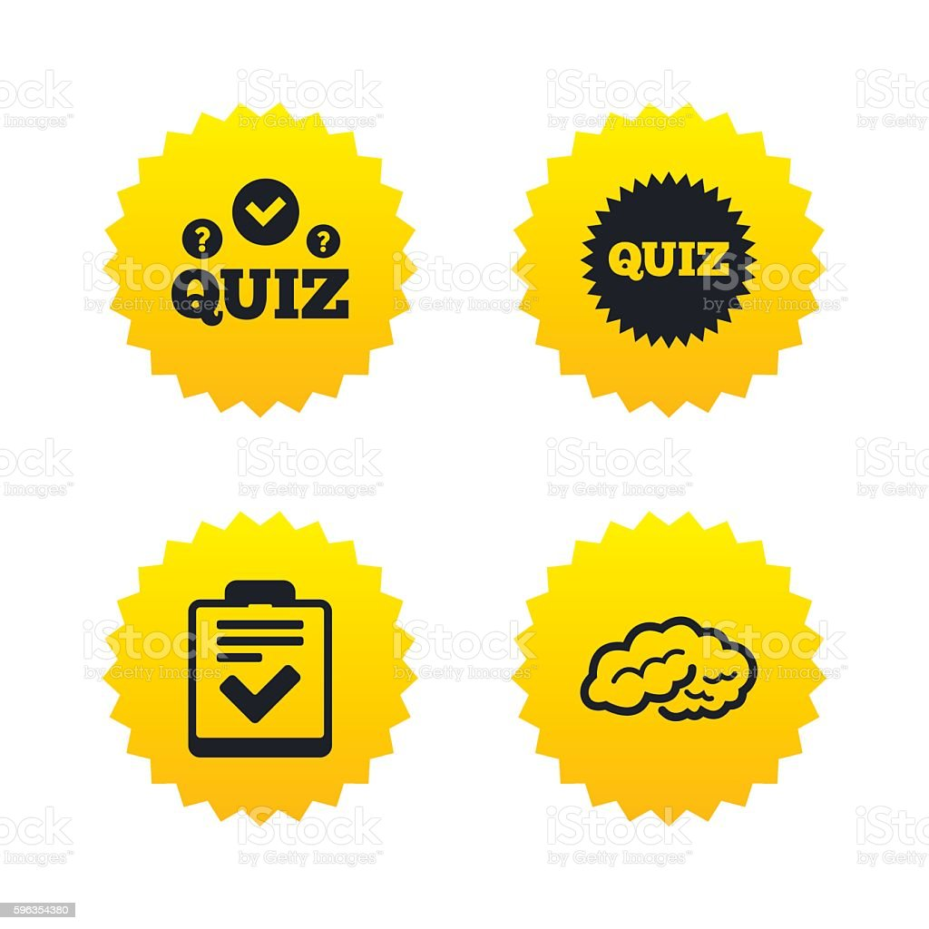 Quiz icons. Checklist and human brain symbols. royalty-free quiz icons checklist and human brain symbols stock vector art & more images of advice