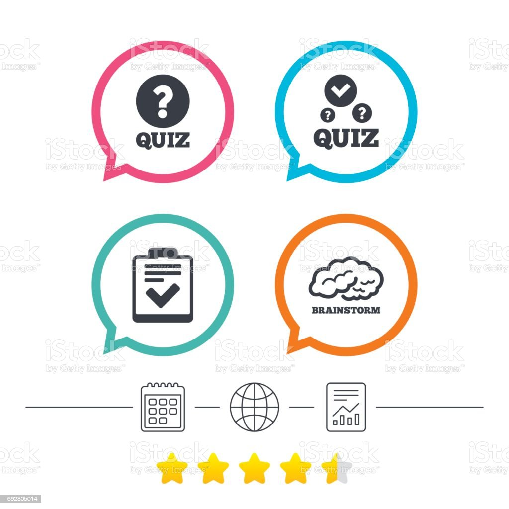 Quiz icons checklist and human brain symbols stock vector art more checklist and human brain symbols royalty free quiz icons checklist and biocorpaavc Images