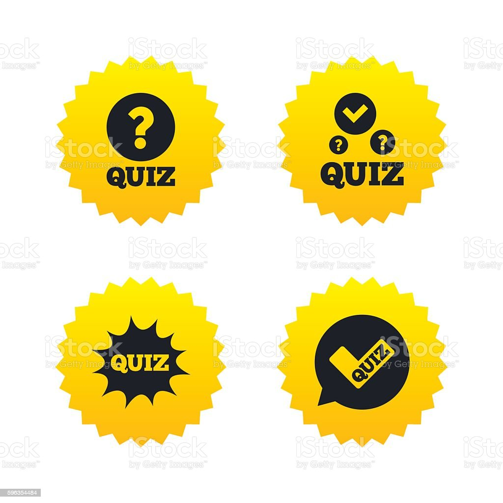Quiz icons. Speech bubble with check mark symbol royalty-free quiz icons speech bubble with check mark symbol stock vector art & more images of badge