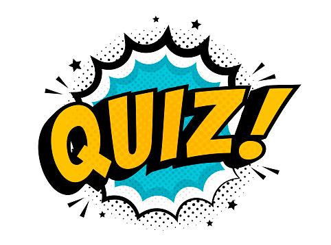 Quiz in comic pop art style. Quiz brainy game word. Vector illustration design