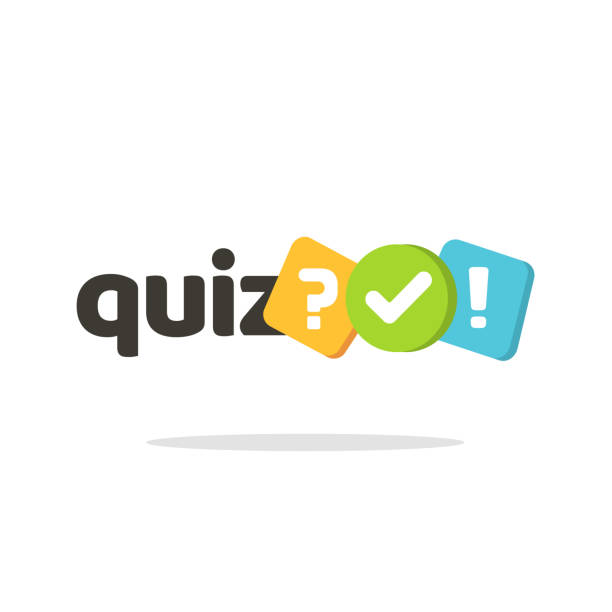 Quiz logo icon vector symbol, flat cartoon bubble speeches with question and check mark signs as competition game or interview logotype, poll or questionnaire modern creative horizontal vector art illustration