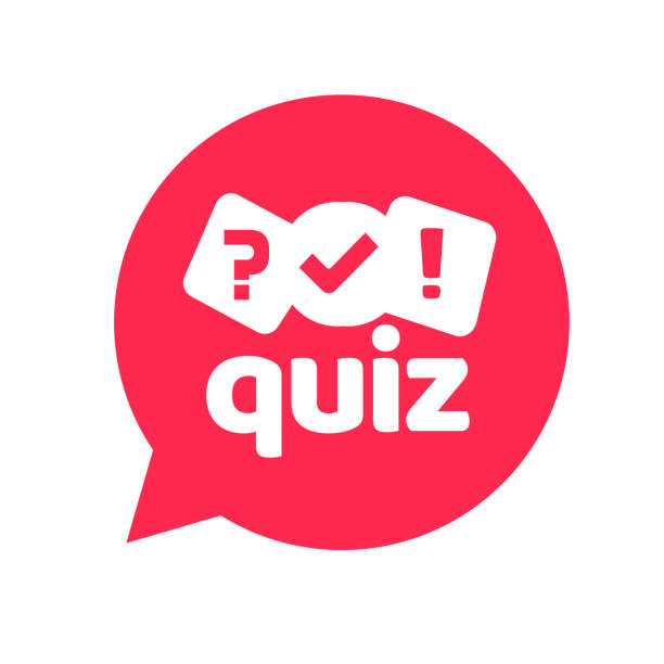 Quiz logo icon vector symbol, flat cartoon red bubble speech with question and check mark signs as competition game or interview logotype, poll or questionnaire modern creative horizontal image vector art illustration