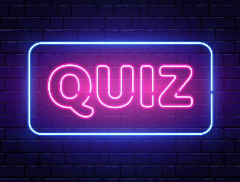 Quiz neon text banner on brick wall. Questions team game. Quiz night poster. Pub neon signboard. Night bright advertising. Vector illustration.