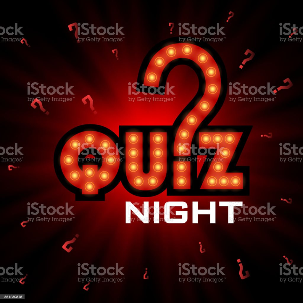 Quiz night announcement poster design web banner background vector illustration. Pub quiz held in a pub or bar, night club. Modern pub team game. Questions game shining retro light banner vector art illustration