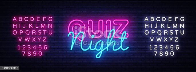 Quiz night announcement poster vector design template. Quiz night neon signboard, light banner. Pub quiz held in pub or bar, night club. Pub team game. Questions game. Vector. Editing text neon sign.