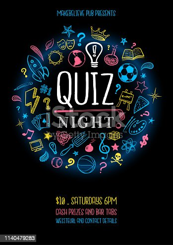 Poster for a quiz night with hand drawn icons