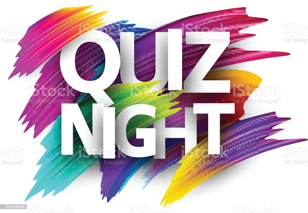 Quiz Night Poster With Colorful Brush Strokes Stock