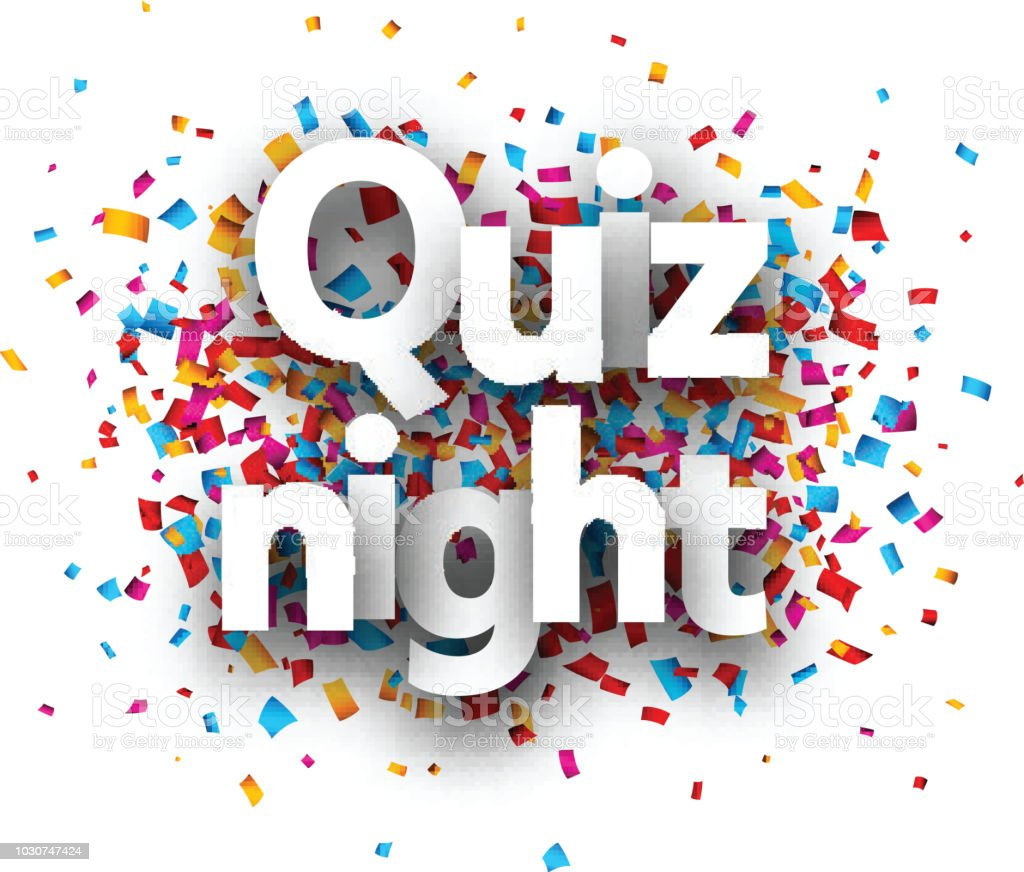Quiz Night Poster With Colorful Confetti Stock Illustration
