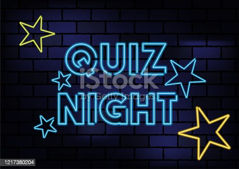 Quiz Night Sign Blue Neon Light On Dark Brick Wall. Horizontal composition with copy space.