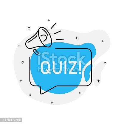 Quiz of marketing design badge with loudspeaker blue color. Vector illustration on white background.