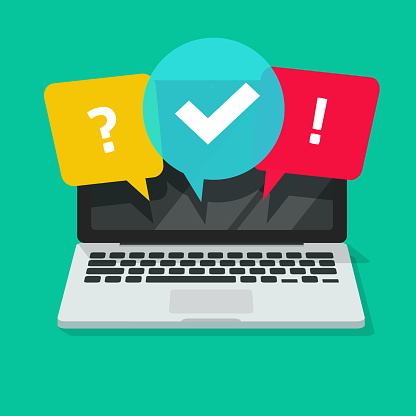 Quiz or exam online on computer screen vector illustration, flat cartoon laptop with questionnaire symbol, concept of internet survey or question test
