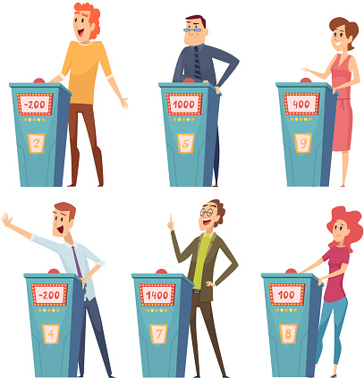 Quiz players. Tv show characters answer questions entertainment smart games vector cartoon pictures