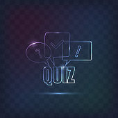 Quiz sign decorated in line neon style. Background