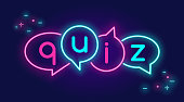 Quiz speech bubbles banner for social networks in neon light style on dark background. Bright vector neon illustration for live game show and questionnaire interview on website banner or landing page