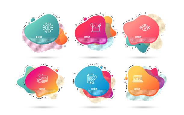 quiz, test, kreativität-konzept und web-analytics-symbole. feder-signatur-schild. vektor - storytelling grafiken stock-grafiken, -clipart, -cartoons und -symbole