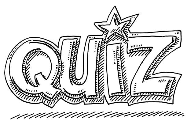Quiz Text Symbol Drawing Hand-drawn vector drawing of a Quiz Text Symbol. Black-and-White sketch on a transparent background (.eps-file). Included files are EPS (v10) and Hi-Res JPG. game stock illustrations
