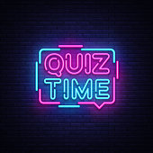 Quiz Time announcement poster neon signboard vector. Pub Quiz vintage styled neon glowing letters shining, Light Banner, Questions team game.Vector illustration.