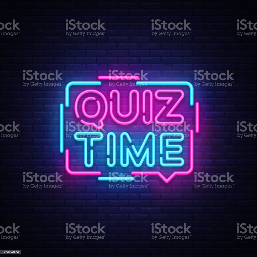 Quiz Time announcement poster neon signboard vector. Pub Quiz vintage styled neon glowing letters shining, Light Banner, Questions team game.Vector illustration vector art illustration