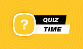 istock Quiz time badge design with question mark isolated on geometric background in yellow colors. Modern flat style vector illustration 1300207924