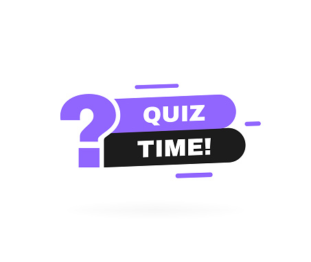 Quiz time geometric badge with question mark. Vector illustration.