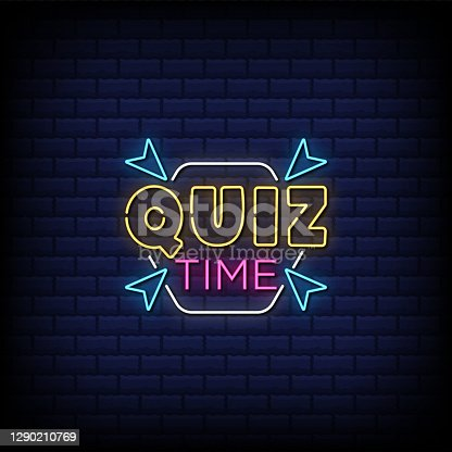 istock Quiz time neon sign style text 1290210769