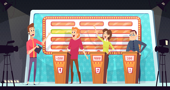 Quiz tv show. Smart competition with three players answered question entertainment tournament television game vector background