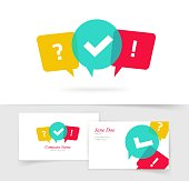 Quiz vector logo and business card, questionnaire icon, poll sign, flat bubble speech symbols, concept of social communication, chatting, interview, voting, discussion, talk, team dialog, group chat